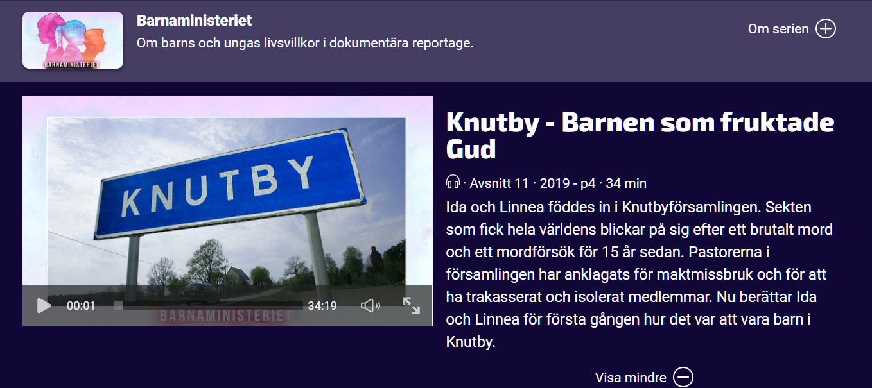 Barnaministeriet Knutby - Barnen som fruktade Gud UR Play