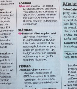 DN På Stan tips om Sektbarn föredrag 5 feb 2009